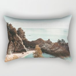 California Coast   Big Sur McWay Falls Coastal Camping Road Trip Tapestry Art Print Rectangular Pillow