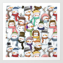 Happy Snowmen Pattern Art Print