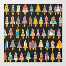 retro rockets graphite Canvas Print