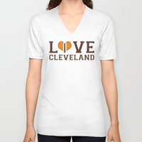 cleveland V-neck T-shirts featuring LUV Cleveland by C. Wie Design
