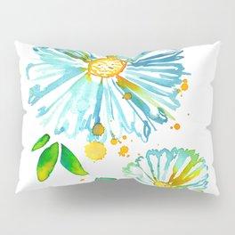 Lakeside Watercolour Blue Daisies Pillow Sham