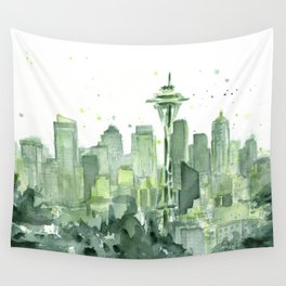 Seattle Watercolor Painting Wall Tapestry