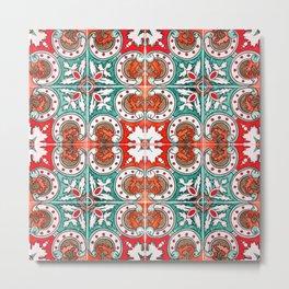 Seamless Floral Pattern Ornamental Tile Design : 7 Metal Print