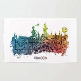 Cracow City Skyline  map #krakow #cracow Rug