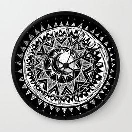 Black Moon Mandala Wall Clock