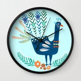 Folk Peacock Wall Clock