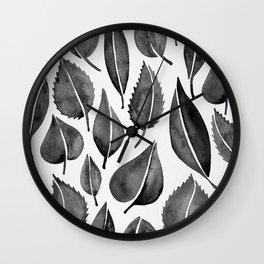 Black Leaves Wall Clock