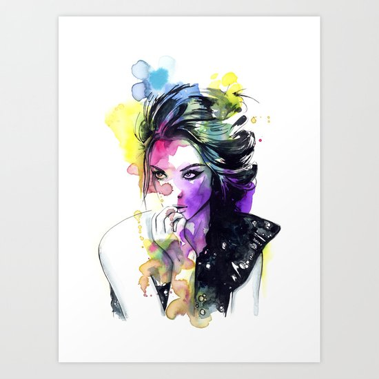 Milla fashion portrait girl watercolor tye and dye face Art Print