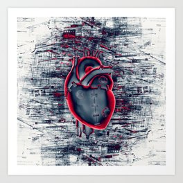 Gamer Heart BLUE CRIMSON / 3D render of mechanical heart Art Print