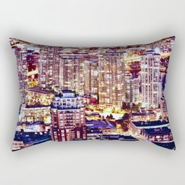 1553 Voyeuristic 1553 Vancouver Cityscape Downtown Yaletown British Columbia Canada Hot Summer Night Rectangular Pillow