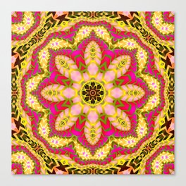 Sweet Happiness Floral Mandala Canvas Print