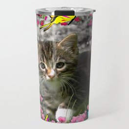 Emma in Butterflies - Gray Tabby Kitty Travel Mug