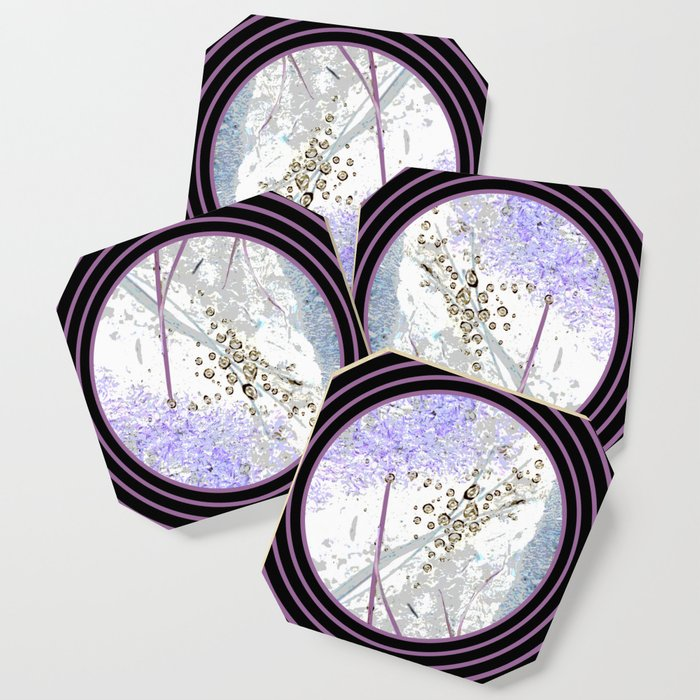 Nature Portals in Periwinkle, Rose & Black Coaster