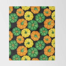 Pumpkins watercolor pattern 3 Throw Blanket