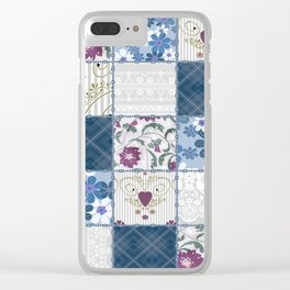 Patchwork  floral lace pattern background Clear iPhone Case