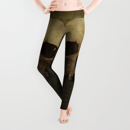 Male skull in retro style Leggings