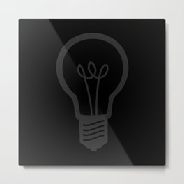 Burned Out Light bulb (Dark Grey and Black) Metal Print