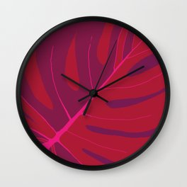 Only One Monstera Leaf in Red And Purple Colors #decor #society6 #buyart Wall Clock