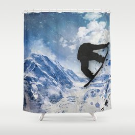 Snowboarder In Flight Shower Curtain