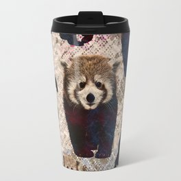 Red Panda Abstract  mixed media digital art collage Travel Mug