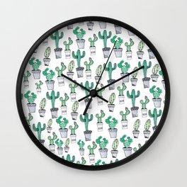 Watercolor Cacti Wall Clock