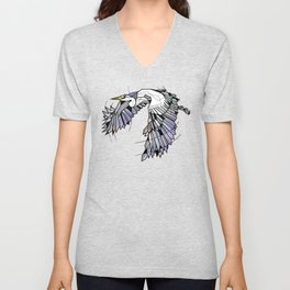 Heron Geometric Bird Unisex V-Neck