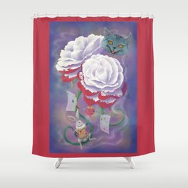 Painted Roses for Wonderland's Heartless Queen Shower Curtain
