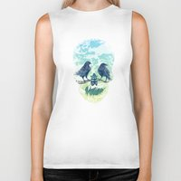 skull Biker Tanks featuring Nature's Skull by Rachel Caldwell