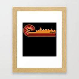 Retro Style Chicago Illinois Skyline Framed Art Print