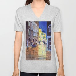 Reflections Of Venice Italy Unisex V-Neck