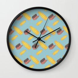 Summer Pairs: corn and ribs Wall Clock