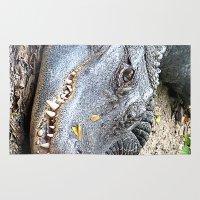 crocodile Area & Throw Rugs featuring Crocodile by Laura Grove
