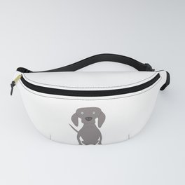 Weim I So Cute Grey Ghost Weimaraner Dog Hand-painted Drawing Fanny Pack