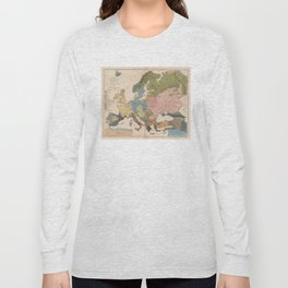 Vintage Anthropological Map of Europe (1861) Long Sleeve T-shirt