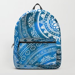 'Sapphire Destiny' Blue & White Flower Of Life Boho Mandala Design Backpack