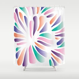 Multicolor Floral Zenspire Swirl Shell Design Shower Curtain