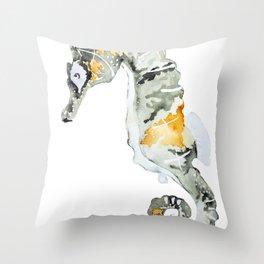 Sea Green seahorse painting Throw Pillow