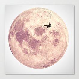 Pink Moon Climbing Canvas Print