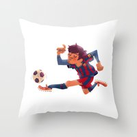 messi Throw Pillows featuring Lionel Messi, Barcelona Jersey by Mike Laughead