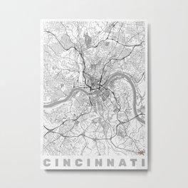 Cincinnati Map Line Metal Print