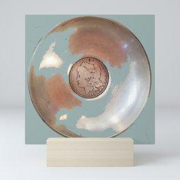 Silver Dollar, Silver Disk Art Mini Art Print