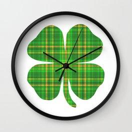 Plaid Shamrock Clover St Patrick's Day Green Wall Clock