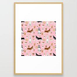Husky siberian huskies coffee cute dog art drinks latte dogs pet portrait pattern Framed Art Print
