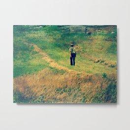 Walking Through The Hay Field Metal Print