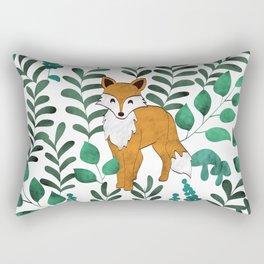 Red Foxes (White) Rectangular Pillow