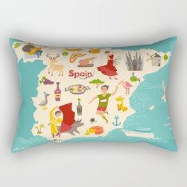 Spain map vector. Illustrated map of Spain for children Rectangular Pillow