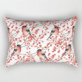Bullfinch and red berries Rectangular Pillow