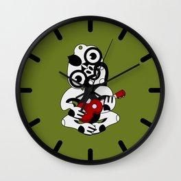 Black and Grey Hei Tiki playing a Ukulele Wall Clock