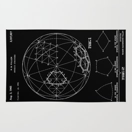 Buckminster Fuller 1961 Geodesic Structures Patent - White on Black Rug