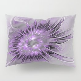 Lilac Fantasy Flower, Fractal Art Pillow Sham
